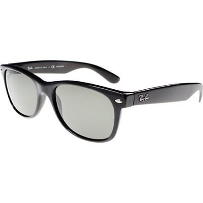 New Wayfarer Black Sunglasses, Black Frame, Green Lens 55mm