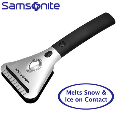 Heated Car Window Snow and Ice Scraper with Built-In Flashlight