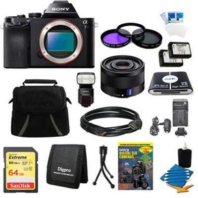 Alpha 7 a7 Digital Camera, 35mm Lens, 64GB Card, 2 Batteries, Flash Bundle