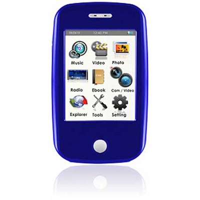 E6 Series - 4GB MP3 Video Player w/ 3` Touchscreen, Camera w/ Video - Blue