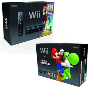 Black Wii Console w/New Super Mario Bros Wii and Music CD