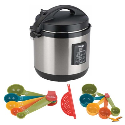 Stainless-Steel 3-in-1 6 Qt. Multi-Cooker, Measuring Sets and Drainer Bundle