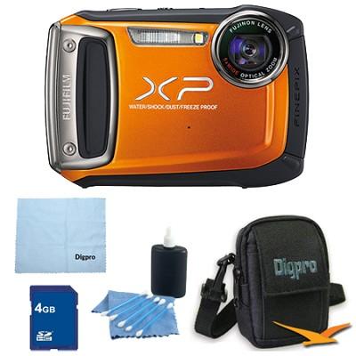 Finepix XP100 14MP CMOS Digital Camera 4 GB Bundle (Orange)