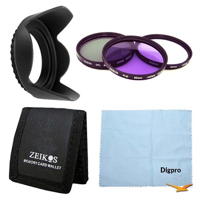 Essential 62mm Tulip Hard Lens Hood Bundle