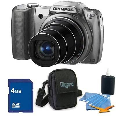 SZ-10 Silver 14MP 3.0 LCD 28mm Wide-Angle 18x Opt Zoom Digital Camera Kit
