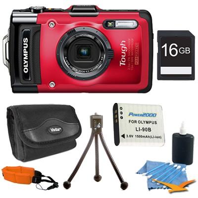 STYLUS TG-2 iHS 12MP 4x Wide/8x SR Zoom HD Digital Camera Red Plus 16GB Kit