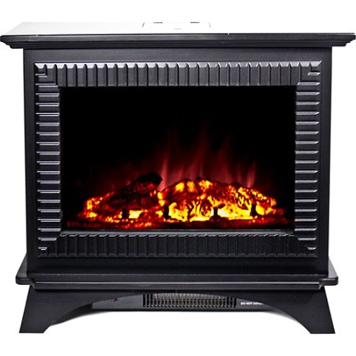 BMSF-10311 Boston Cast Iron Floor Standing Electric Fireplace - Black