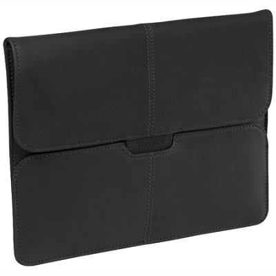 TES010US - Hughes Leather Portfolio Slipcase for iPad - Black Oil-tanned Leather