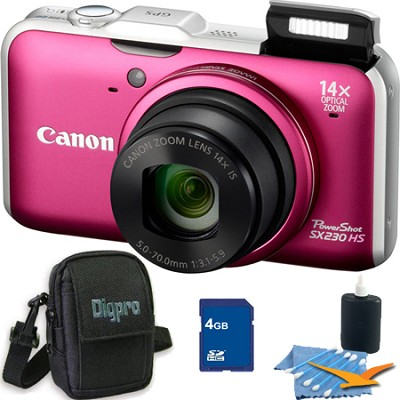 PowerShot SX230 HS Red Digital Camera 4GB Bundle
