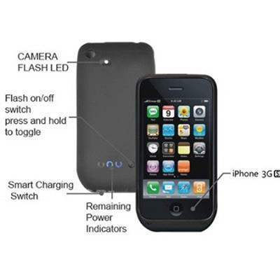 Power DX iPhone 3G 3Gs External Battery Case w/ Camera Flash (Matte Black)