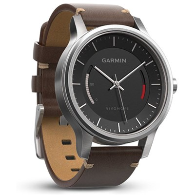 Vivomove Premium Activity Tracker - Stainless Steel with Leather Band