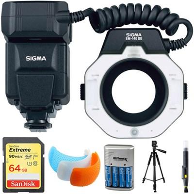 EM-140 DG Macro Flash for Nikon DSLRs with 64GB Memory Card Bundle