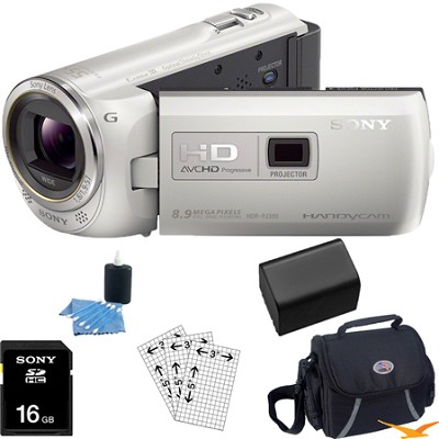 HDR-PJ380/W 16GB Full HD Camcorder with Projector (White) Essential Bundle