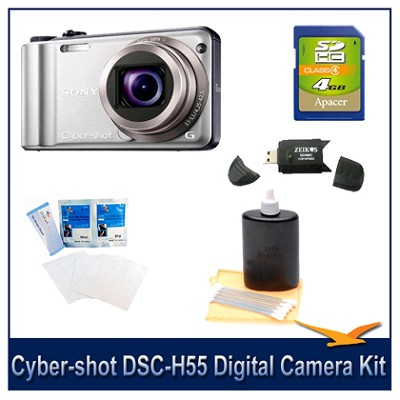 Cyber-shot DSC-H55 14.1 MP Digital Camera (Silver) with 4GB Card, Case and More