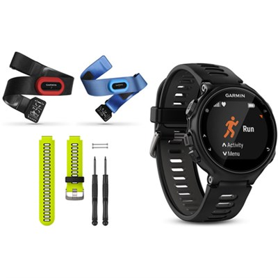 Forerunner 735XT GPS Running Watch Tri-Bundle with Yellow Band - Black/Gray