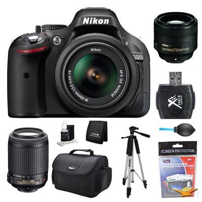 D5200 DX-Format Digital SLR Camera 18-55mm, 55-200mm, and 85mm Lens Kit