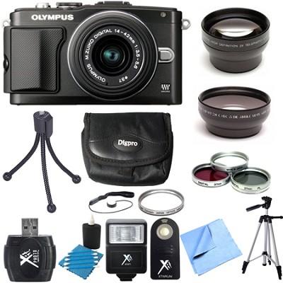 E-PL5 Black PEN Camera w/ 14-42mm Lens Ultimate 3 Lens Bundle
