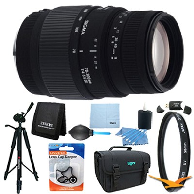 70-300mm f/4-5.6 SLD DG Macro Lens for Nikon DSLRs Lens Kit Bundle