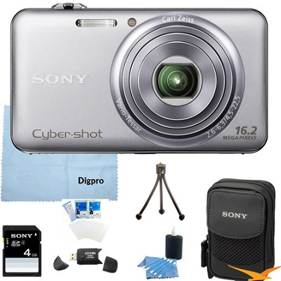 DSC-WX70 - 16.2MP Exmor R CMOS Camera 3.0` LCD 5x Zoom (Silver) 4GB Bundle