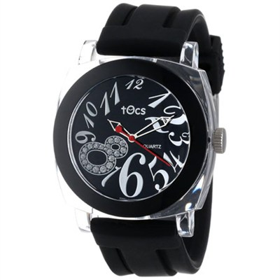 `Crystal 8` Analog Round Watch (Black) - 40111