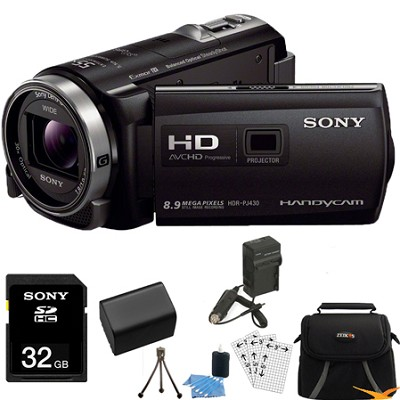 HDR-PJ430V 32GB Full HD Camcorder 8.9MP stills with Projector Essentials Bundle