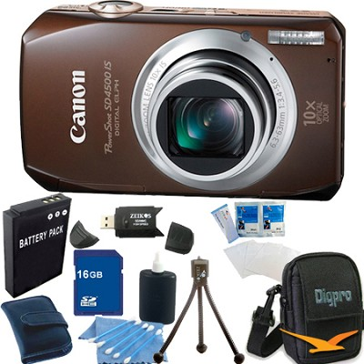 PowerShot SD4500 IS Bundle w/ 16GB Memory, Reader, Case, Tripod & More