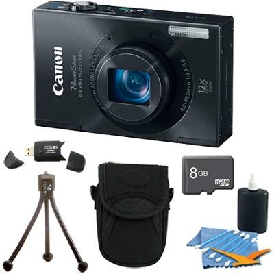 PowerShot ELPH 520 HS Black 10.1 MP CMOS Digital Camera 12x Zoom 8 GB Bundle