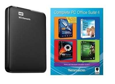 2 TB WD Elements Portable USB 3.0 Hard Drive Storage + Corel PC Office Suite 4