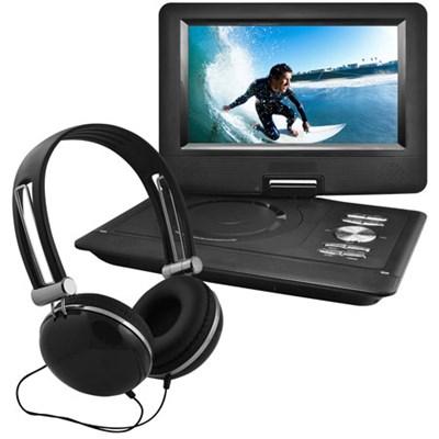 10` Portable Swivel Screen DVD Player w/ Headphones, Car Mount - Black