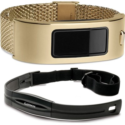 Vivofit Fitness Band with Heart Rate Monitor (Black) Gold Mesh Bundle