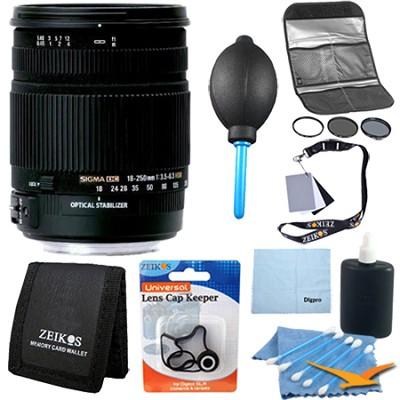 18-250mm F3.5-6.3 DC OS HSM Lens for Nikon AF - Pro Lens Kit