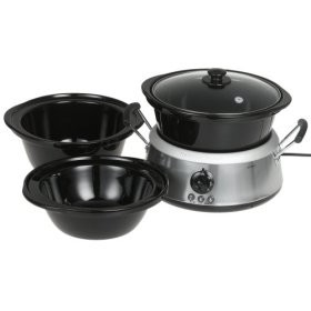 33135HB 3-in-1 Slow Cooker with 2-, 4-, and 6-Quart Crocks, Stainless Steel