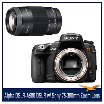 Alpha DSLR-A580 16.2 MP DSLR Camera Body w/ Sony 75-300mm f/4.5-5.6 Zoom Lens