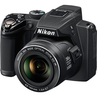 Coolpix P500 12MP Black Digital Camera w/ 36x Optical Zoom