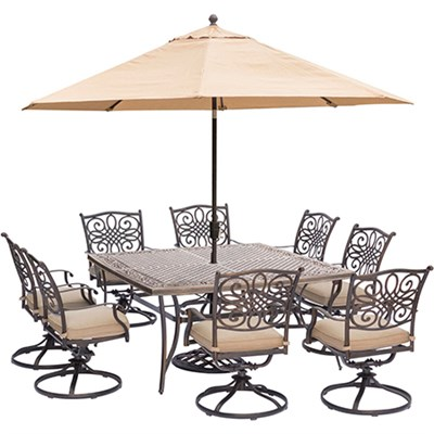 Traditions 9-Piece Dining Set in Tan - TRADDN9PCSWSQ8-SU