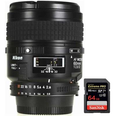 60mm F/2.8D Micro AF Nikkor Lens + 64GB Memory Card