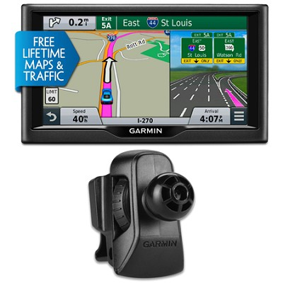 nuvi 67LMT 6` Essential Series 2015 GPS System Maps & Traffic Vent Mount Bundle