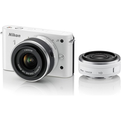 1 J1 SLR White Digital Camera w/ 10mm & 10-30mm VR Lenses