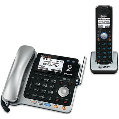 DECT 6.0 Corded/Cordless Phone, Silver/Black, 1 Base and 1 Handset - TL86109