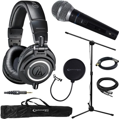 ATH-M50X Professional Studio Headphones Black & Technical Pro Microphone Bundle