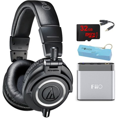 ATH-M50X Professional Studio Headphones (Black) Portable Headphone Amp Bundle