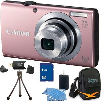 PowerShot A2400 IS 16MP Pink Digital Camera 8GB Bundle