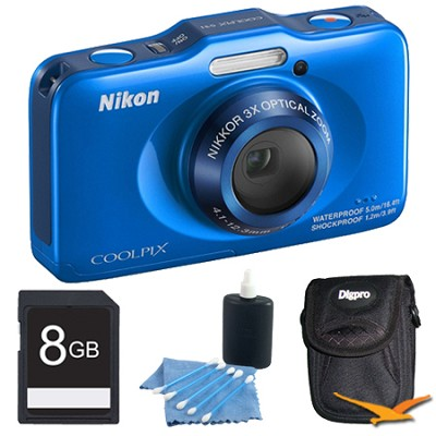 COOLPIX S31 10.1MP 720p HD Video Waterproof Digital Camera - Blue Plus 8GB Kit