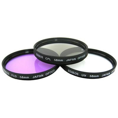 58mm UV, Polarizer & FLD Deluxe Filter kit (set of 3 + carrying case)