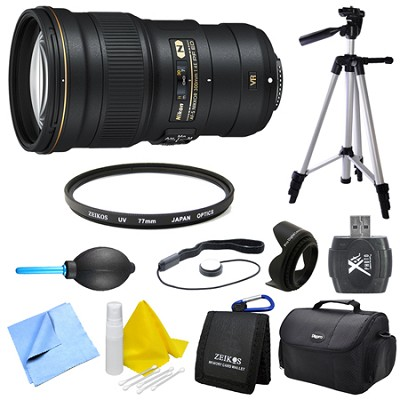 AF-S NIKKOR 300mm f/4E PF ED VR Lens, Filter, Tripod, and Hood Bundle