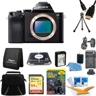 Alpha 7R a7R Digital Camera 64 GB SDXC Card and Battery Bundle
