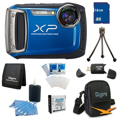 Finepix XP100 14MP CMOS Digital Camera 16 GB Bundle (Blue)