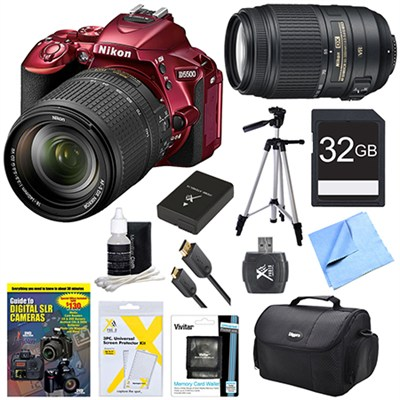 D5500 Red DSLR Camera 18-140mm Lens, 55-300 Lens, 32GB, and Battery Bundle