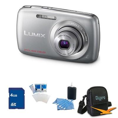 Lumix DMC-S1 12MP Compact Silver Digital Camera w/ 720p HD Video 4GB Bundle
