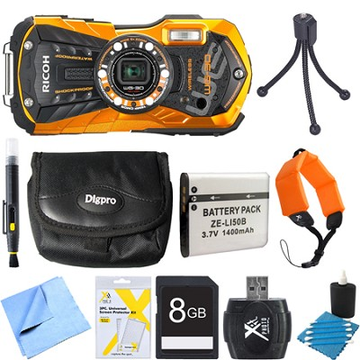 WG-30W Digital Camera with 2.7-Inch LCD Flame Orange 8GB Bundle